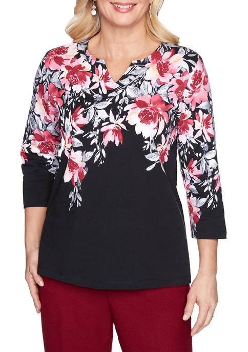 Alfred Dunner Womens Madison Avenue Floral Yoke Knit
