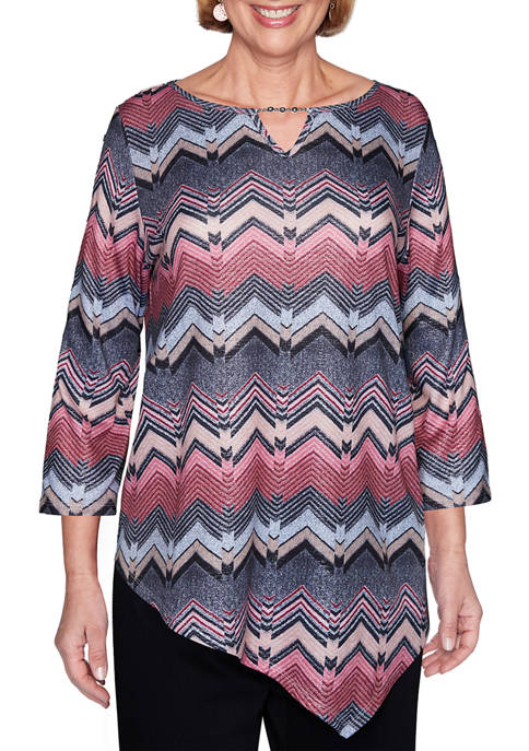 Alfred Dunner Womens Madison Avenue Textured Chevron Top