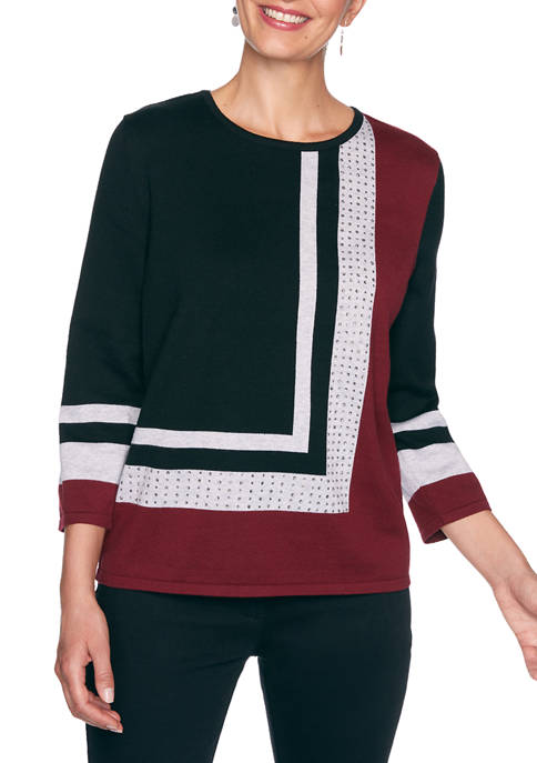 Alfred Dunner Womens Madison Avenue Color Block Sweater