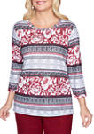 Plus Size Madison Avenue 3/4 Sleeve Geo Floral Biadere Top