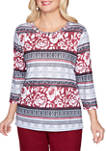 Petite Madison Avenue Geo Floral Biadere Top