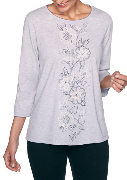 Alfred Dunner Petite Madison Avenue Center Floral Embroidery