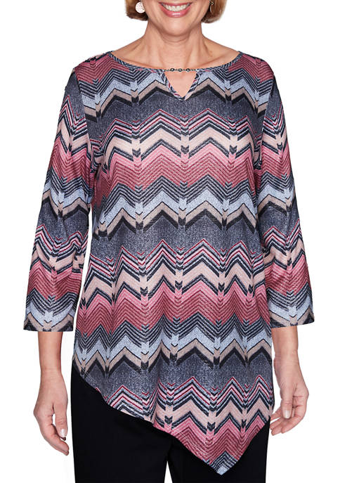 Alfred Dunner Petite Madison Avenue Texture Chevron Top