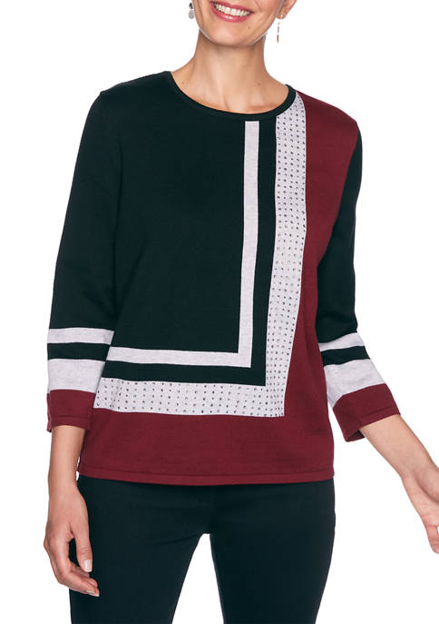 Alfred Dunner Petite Madison Avenue Color Block Sweater