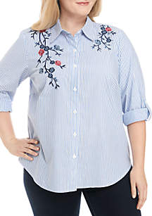Plus Size Embroidered Button Down Shirt