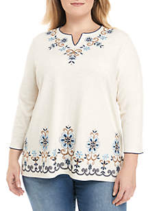 Plus Size Embroidered Floral Sweatshirt