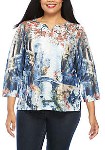 Plus Size News Flash Scenic Knit Top