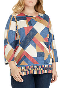 Plus Size 3/4 Sleeve Patchwork Knit Top