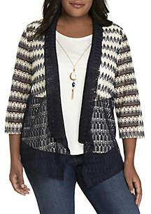 Plus Size News Flash Spliced 2Fer Knit Top