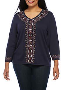 Plus Size News Flash Center Embellished Sweater