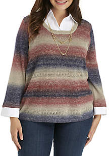 Plus Size Space Dye Sweater with Collar