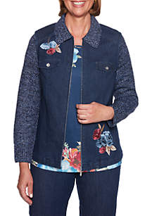 Petite News Flash Embroidered Jacket