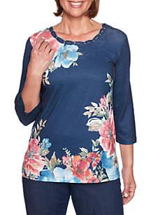 Petite News Flash Floral Knit Top