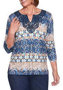 Petite News Flash Biadere Lace Neck Top