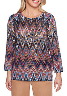 Alfred Dunner Petite News Flash Chevron Sweater