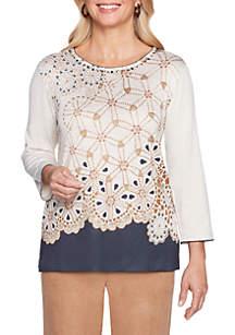 Petite News Flash Geometric Printed Sweater