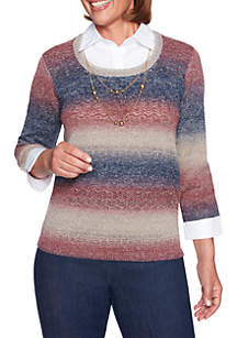Petite News Flash Space Dye Sweater with Collar