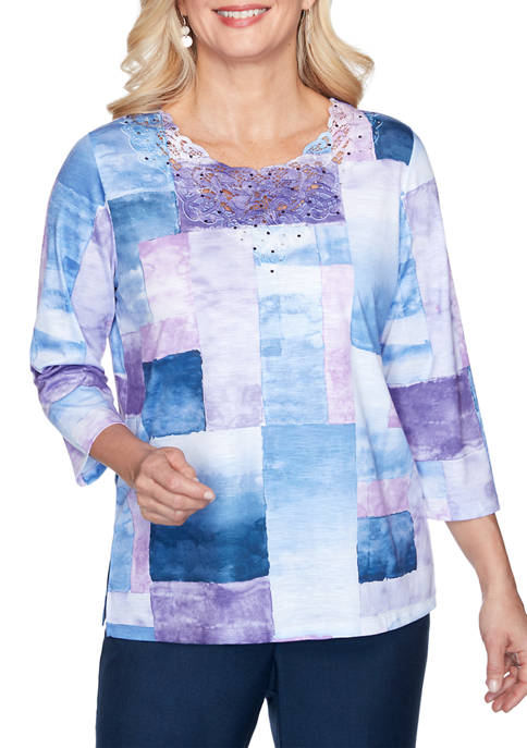 Alfred Dunner Womens Wisteria Lane Watercolor Box Knit