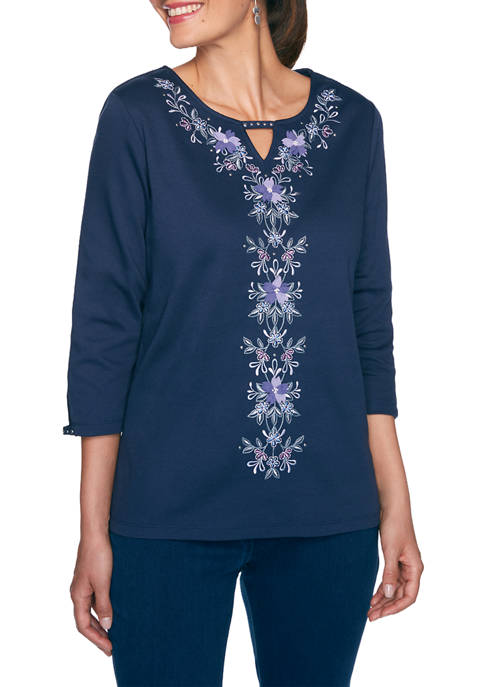 Alfred Dunner Womens Wisteria Lane Center Floral Embroidery