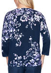 Womens Wisteria Lane Applique Floral Print Top