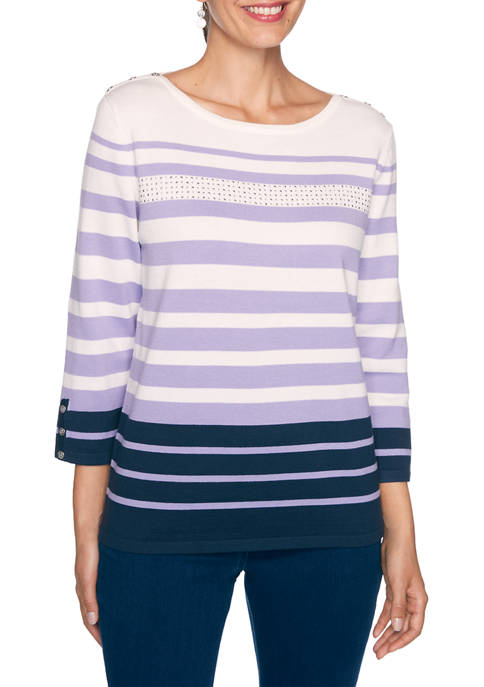 Alfred Dunner Womens Wisteria Lane Stripe Sweater