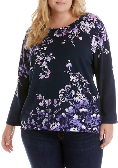 Alfred Dunner Plus Size Wisteria Lane Long Sleeve