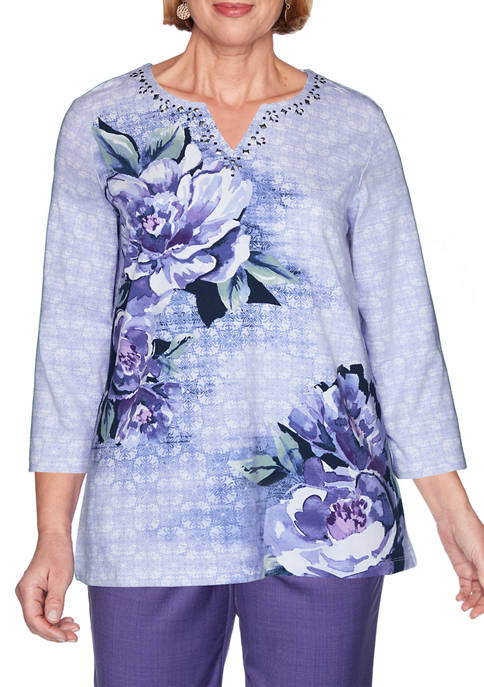 Alfred Dunner Womens Wisteria Lane Asymmetric Floral Top