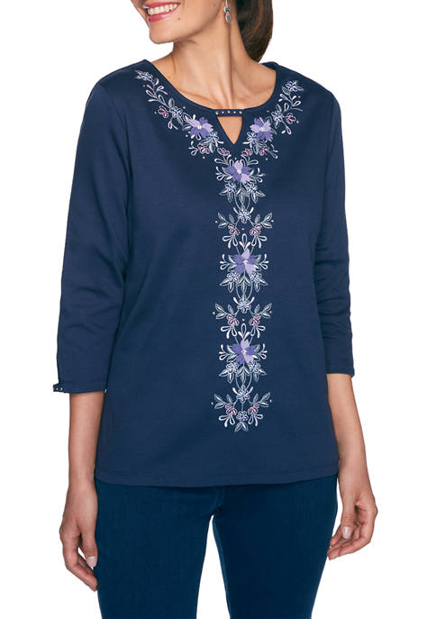 Alfred Dunner Petite Wisteria Lane Center Floral Top