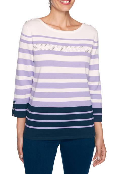 Alfred Dunner Petite Wisteria Lane Stripe Sweater