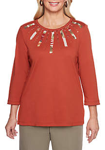 Autumn in New York Yoke Applique Knit Top