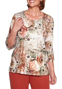 Autumn in New York Roses Paisley Knit Top
