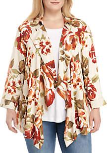 Plus Size Autumn Floral Jacket