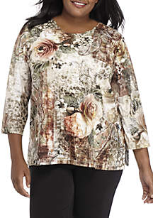 Plus Size Autumn in New York Paisley Roses Knit Top