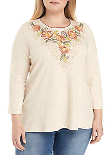Plus Size Scroll Floral Top