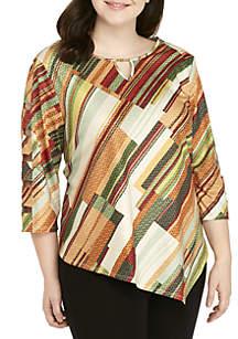 Plus Size Autumn in New York Diagonal Textured Knit Top
