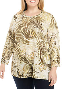 Plus Size Autumn in New York Abstract Woven Top
