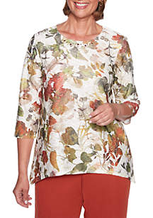 Petite Autumn in New York Shadow Floral Knit Top
