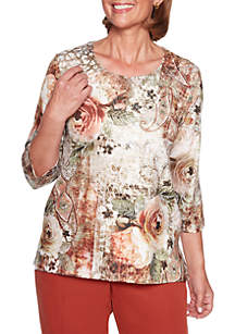 Petite Autumn in New York Roses Paisley Knit Top