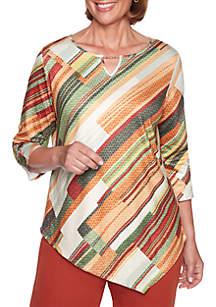 Petite Autumn in New York Diagonal Textured Knit Top