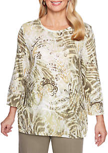 Petite Autumn in New York Abstract Woven Top