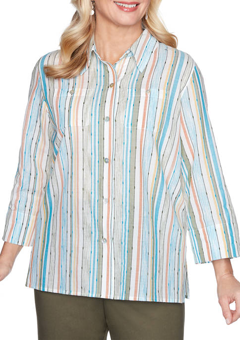 Alfred Dunner Womens Colorado Springs Stripe Woven Shirt