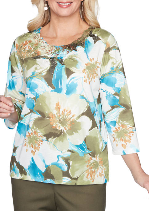 Alfred Dunner Womens Colorado Springs Exploding Floral Knit