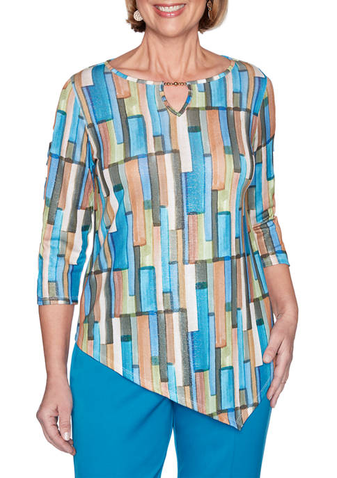 Alfred Dunner Womens Colorado Springs Geometric Asymmetrical Hem