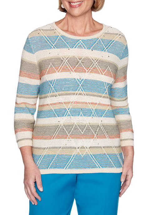 Alfred Dunner Womens Colorado Springs Textured Biadere Sweater