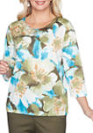 Plus Size Colorado Springs 3/4 Sleeve Exposed Floral Top