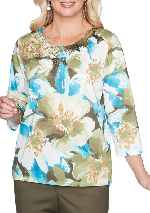 Petite Colorado Springs Exploding Floral Print Top