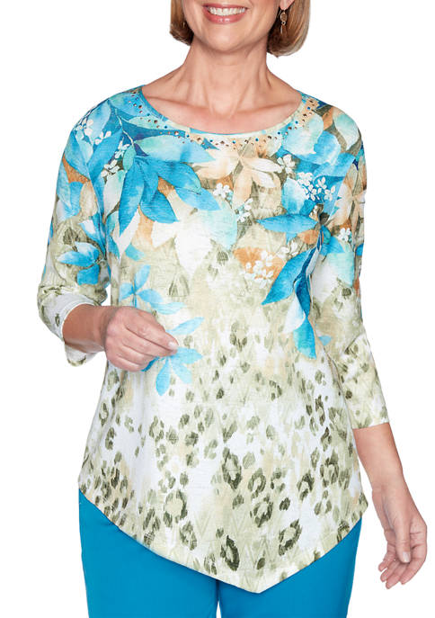 Alfred Dunner Petite Colorado Springs Floral Yoke Top