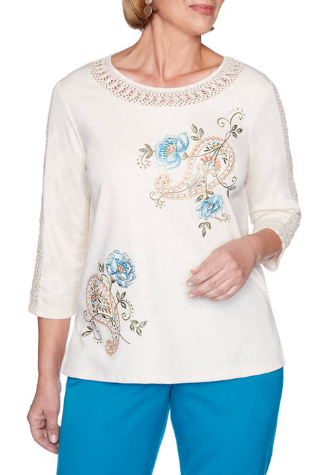 Alfred Dunner Petite Colorado Springs Paisley Embroidered Top