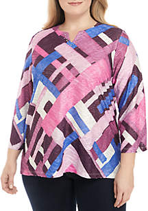 Plus Size 3/4 Sleeve Patchwork Top