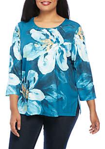 Plus Size Victoria Falls Watercolor Floral Knit Top